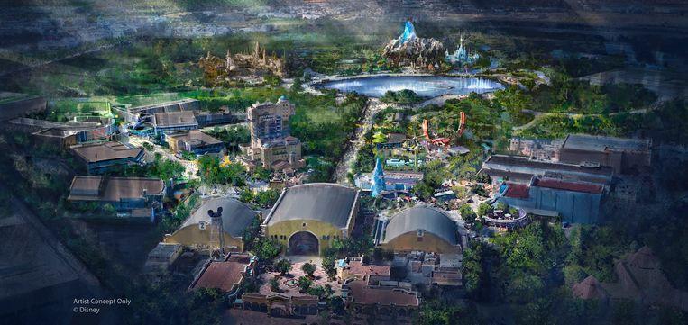 Een concepttekening van de uitbreiding van Disneyland Parijs. Beeld RV