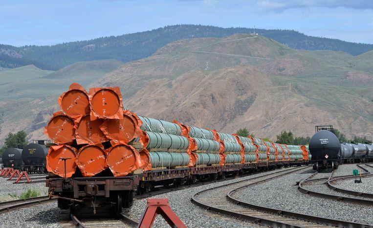 Op een rangeerterrein in British Columbia staat het materiaal klaar voor uitbreiding van de Trans-Mountainolieleiding. Beeld REUTERS
