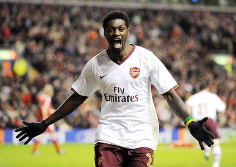 Adebayor zorgde voor vreugde bij alle Arsenal-supporters. Beeld UNKNOWN