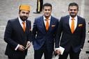 Tweede Kamerleden van DENK: Selcuk Ozturk, Farid Azarkan en Tunahan Kuzu (vlnr) arriveren bij de Ridderzaal op Prinsjesdag.