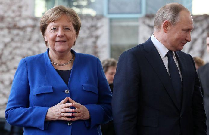 Angela Merkel en Vladimir Poetin