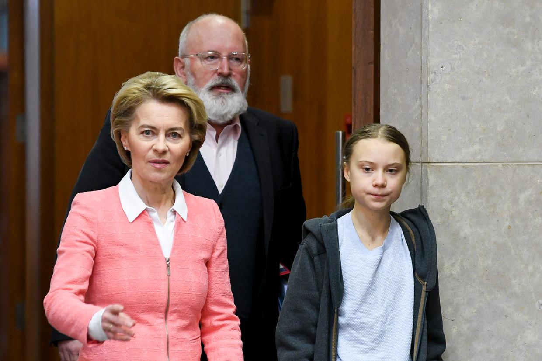 Frans Timmermans / Ursula Von der Leyen / Greta Thunberg Beeld ISOPIX