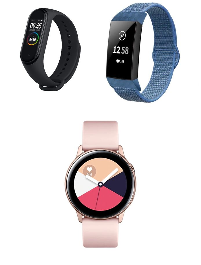 Xiaomi Mi Band, Fitbit Charge 4, Samsung Galaxy Watch Active.