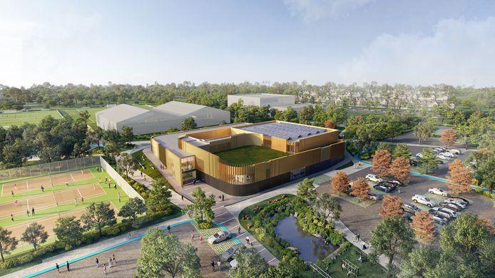 Het voorlopige ontwerp van het toekomstige zwembad op sport- en onderwijscampus De Braak in Helmond.