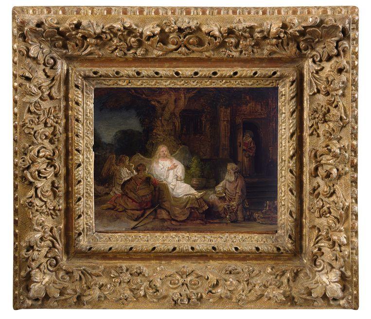 Abraham en de engelen van Rembrandt wordt donderdag geveild bij Sotheby's. Beeld