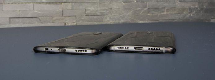 OnePlus 6 en 6T. De 6T heeft links van de usb-poort veel meer gaatjes, maar die hebben geen functie.