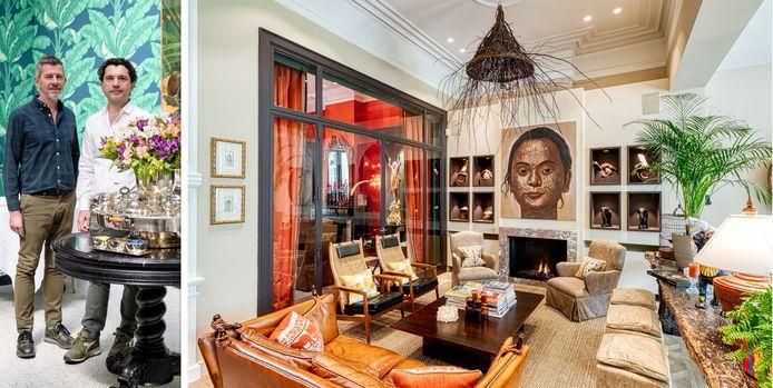 Boven de gashaard hangt een werk van de Thaise kunstenaar Prue Pramaul. In de nissen ernaast: hoedjes van een Aziatische stam. De zetel en console van lycheehout komen van bij een Antwerpse antiquair.