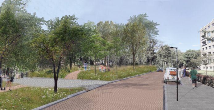 Een toekomstbeeld van de 40-parkeerplaatsenvariant van het park in de Lovensdijkstraat in Breda.