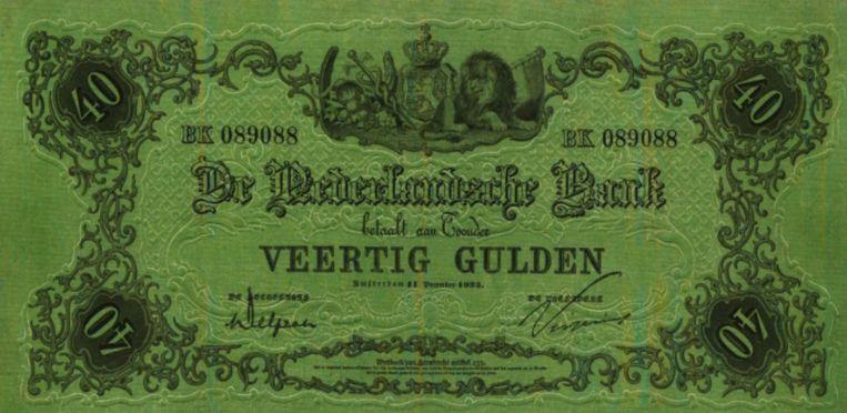 Een biljet van veertig gulden uit 1860 - niet het biljet dat geveild is in Weesp. Beeld Trouw