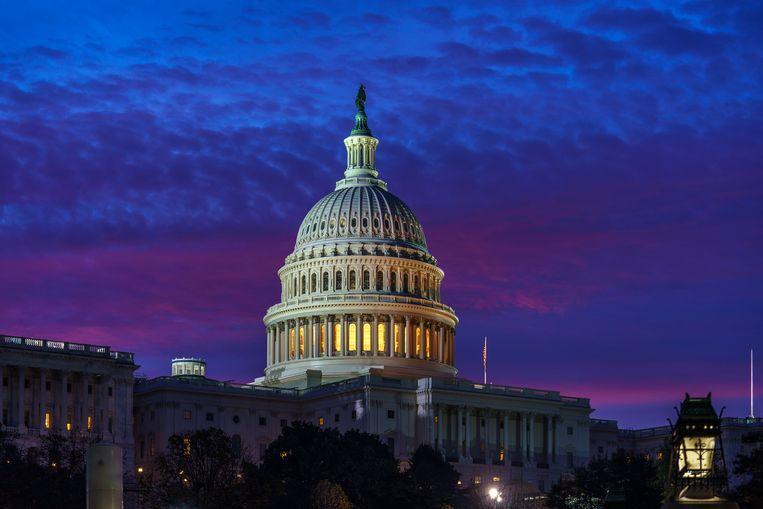 Het Capitool in Washington D.C., waar het Congres bij elkaar komt. Beeld AP