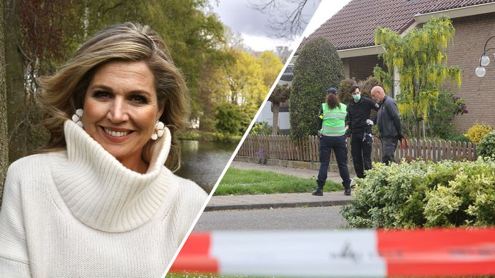 Links de foto die Z.M. de Koning maakte. Rechts politieonderzoek in Waardenburg.