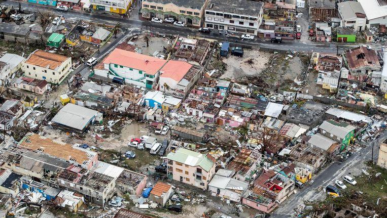 Luchtfoto van de schade op Sint-Maarten van orkaan Irma. Beeld anp