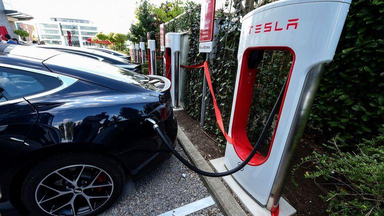 De superbatterij van Tesla, dé Amerikaanse producent van elektrische wagens. Beeld Photo News