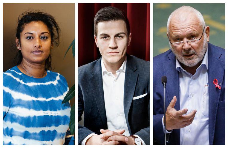 Jinnih Beels (sp.a), Dries Van Langenhove (Vlaams Belang) en Jean-Marie Dedecker (N-VA) Beeld DM