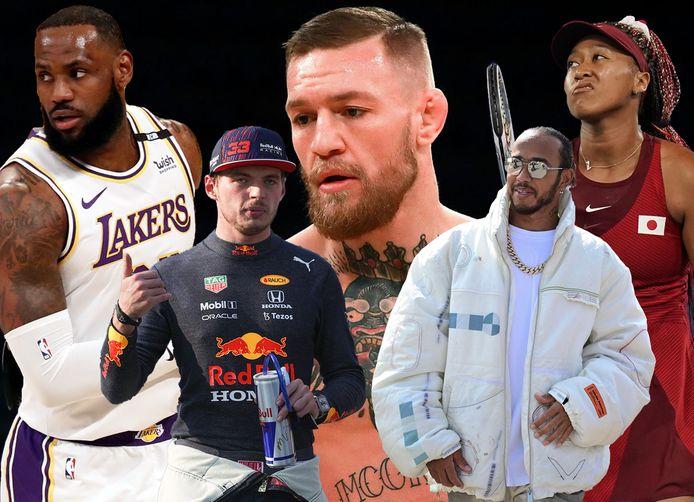 Vlnr: LeBron James, Max Verstappen, Conor McGregor, Lewis Hamilton en Naomi Osaka.