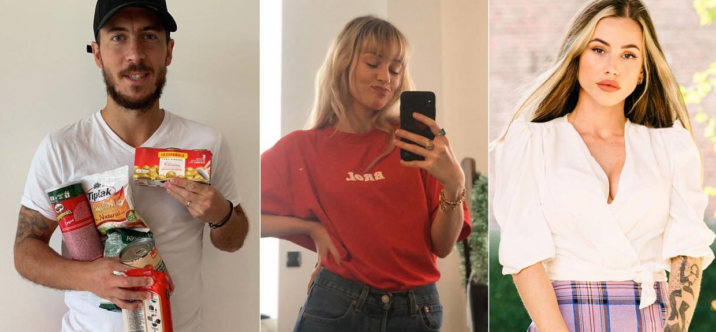 Van links naar rechts Eden Hazard, Angèle en Gaelle Garcia Diaz Beeld Instagram / Humo