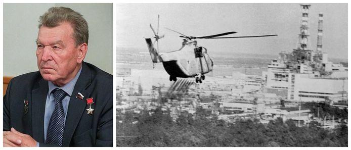 Nikolay Antoshkin (1942-2021). Foto rechts: een helikopter spuit enkele dagen na de ramp desinfecterende middelen op bossen nabij de ontplofte reactor van de kerncentrale van Tsjernobyl. (foto uit 1986)