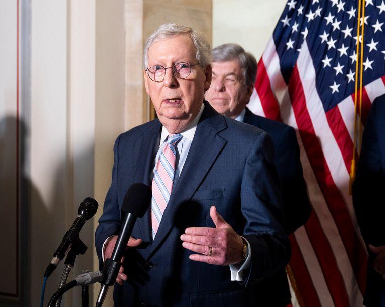 Mitch McConnell, leider van de Republikeinse minderheid in de Senaat. Beeld Photo News