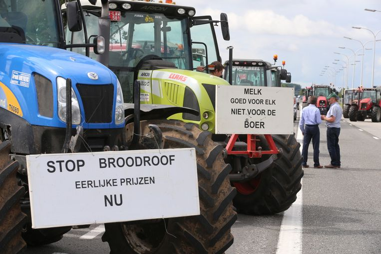 Boeren voerden vanochtend actie op de E17 ter hoogte van Eke. Beeld BELGA