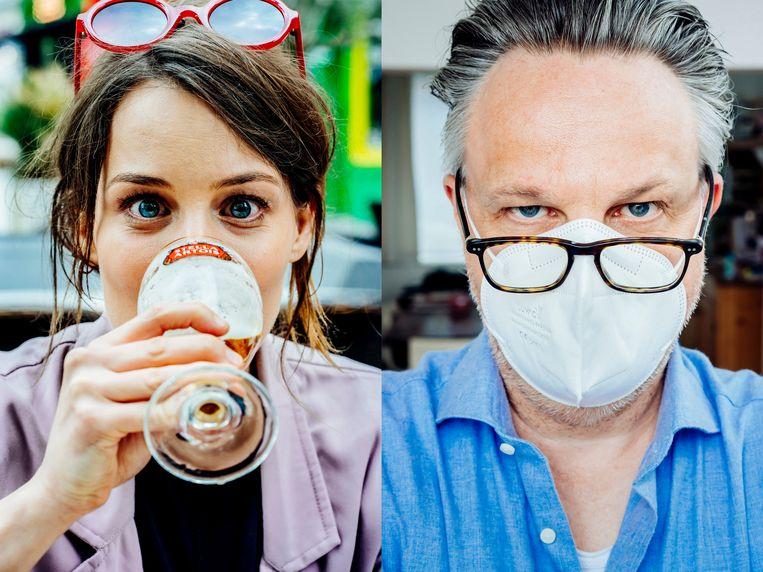 Joël De Ceulaer en Katrin Swartenbroux verschillen sterk van mening over de nakende versoepelingen.  Beeld © Stefaan Temmerman