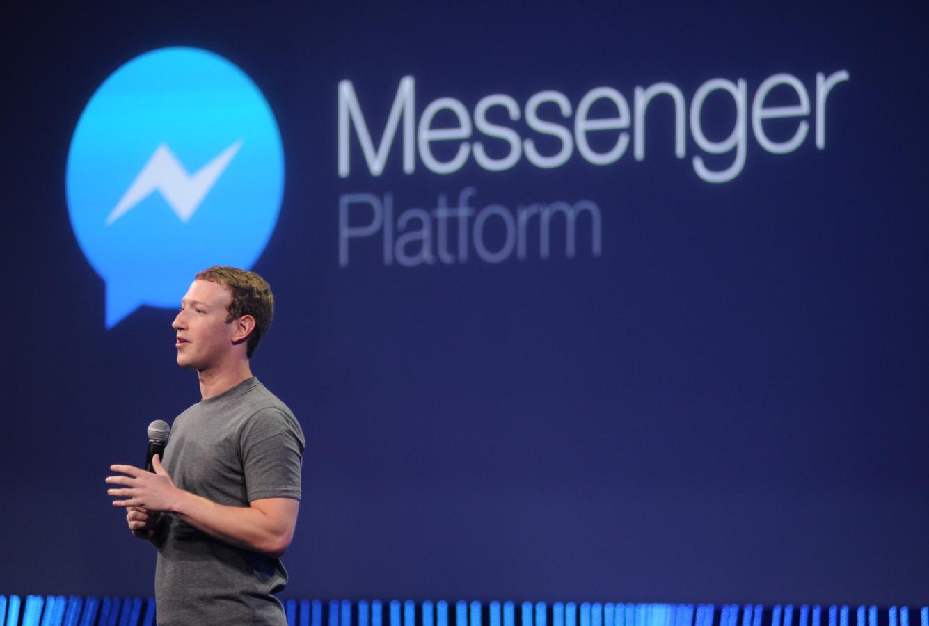 Mark Zuckerberg, CEO de Facebook, à la présentation de la nouvelle version de Messenger à San Francisco en mars 2015