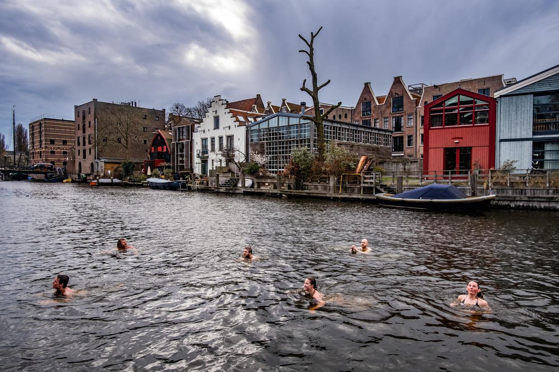 Leerlingen van de Vinse School in Amsterdam nemen in februari in het kader van een 'buitenchallenge' een duik in het koude water van de Bickersgracht.  Beeld Joris van Gennip