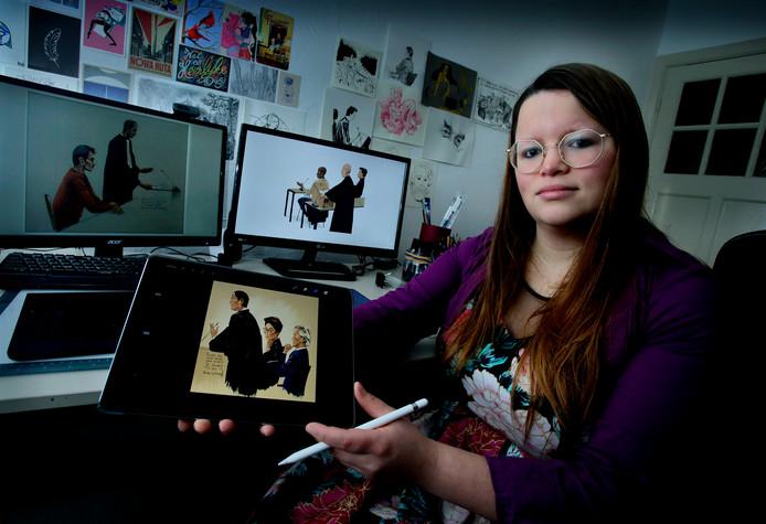 Renée van den Kerkhof in haar Dordtse studio. ,,Ik heb niet echt één stijl'', aldus de geboren Limburgse.