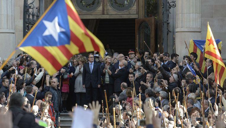 De Catalaanse ontslagnemende premier Artur Mas moest vorige maand nog voor het gerecht verschijnen als verdachte omdat hij vorig jaar een symbolisch referendum over onafhankelijkheid organiseerde. Beeld AFP