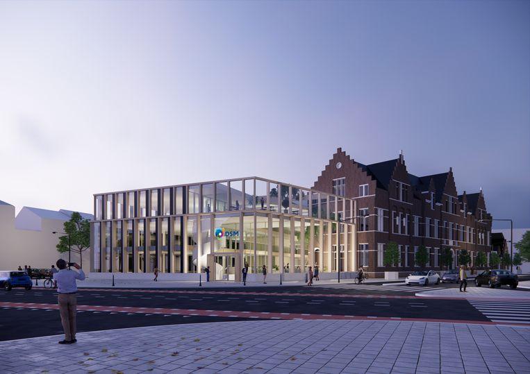 Impressie van het nieuwe hoofdkantoor van chemiebedrijf DSM in Maastricht. Door geruzie over een provinciesubsidie overweegt DSM naar Amsterdam te verhuizen Beeld EDGE/BroekBakema
