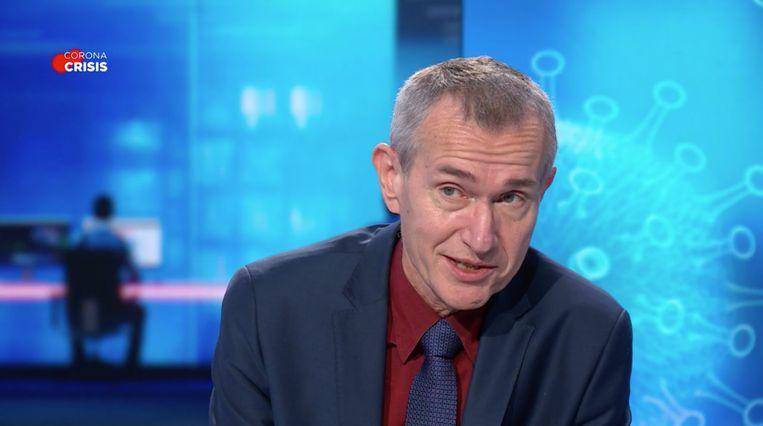 Minister van Volksgezondheid Frank Vandenbroucke (sp.a) bij VTM Nieuws. Beeld VTM Nieuws