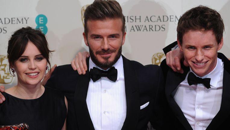 David Beckham naast Felicity Jones en Eddie Redmayne.