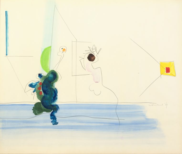 Constant (1920-2005), Homo Ludens, 1967, Aquarel op papier 109 x 132 cm Collectie Gallery Delaive. Beeld Tom Haartsen ©Constant / Fondation Constant c/o Pictoright, Amsterdam 2018