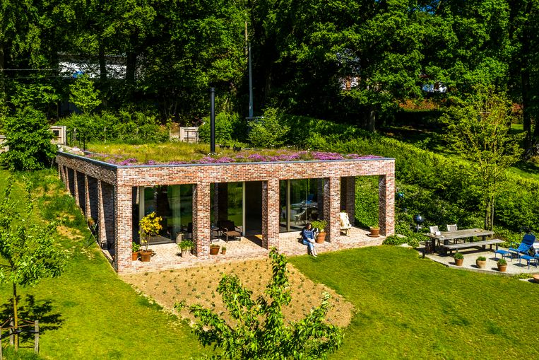 Het huis in de berg werd gebouwd met respect voor de omgeving en gaat op in het landschap. Beeld Luc Roymans