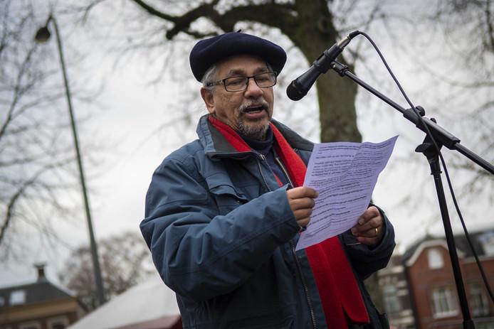 Peter Flohr van actiegroep Stop Gaswinning Loon Op Zand voerde ook het woord in Groningen.