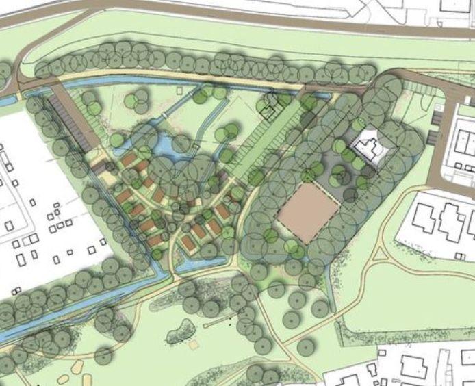 Een impressie van het plan Beersteeg-West, waar het hospice en vijftien Tiny Houses komen.