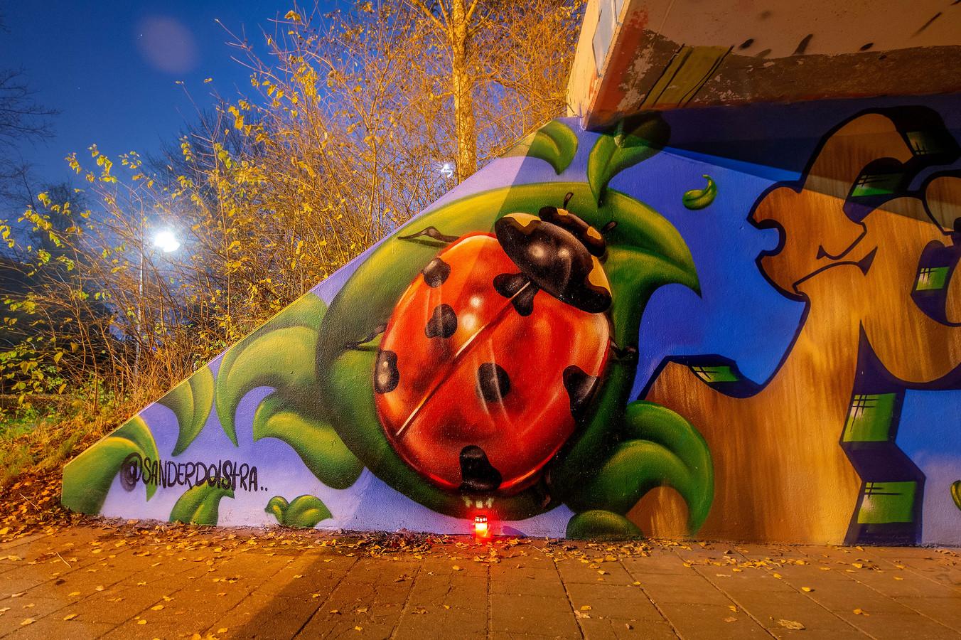 Muurschildering in Wijchen ter nagedachtenis aan Sebastiaan Theloosen. Zijn dood is voor een groep Wijchenaren aanleiding om in verzet te komen tegen agressie op straat.