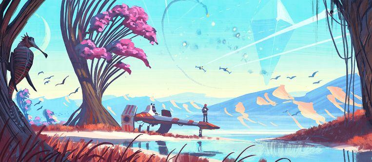Conceptschets voor 'No Man's Sky'. Beeld Hello Games