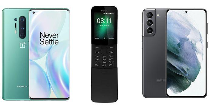 Van l naar r: OnePlus 8 Pro, Nokia 8110 en Samsung Galaxy S21