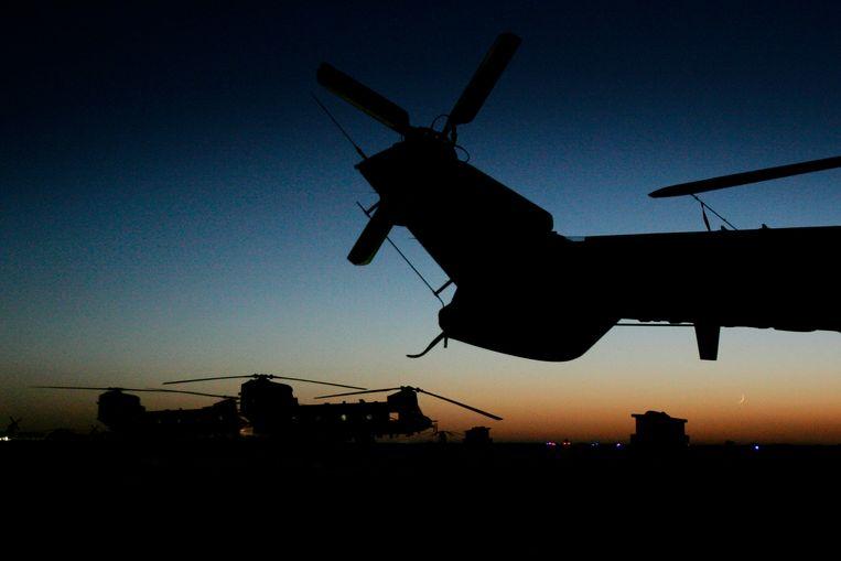 Aanvalshelikopters op een Amerikaanse basis in Afghansitan. Beeld ANP