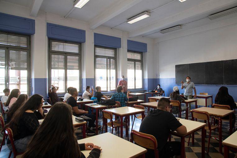 Het begin van het nieuwe middelbare schooljaar in Italië, september 2020. Beeld Getty Images