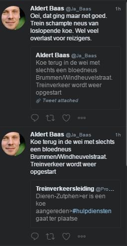 ProRail woordvoerder Aldert Baas meldt de botsing op Twitter.
