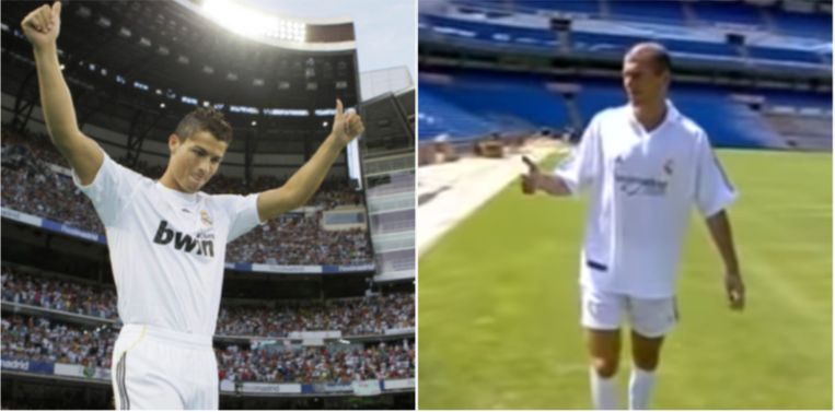 De presentatie van Ronaldo en Zidane, een wereld van verschil.