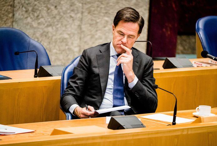 Premier Mark Rutte gisteren tijdens het Tweede Kamerdebat over de ontwikkelingen rond het coronavirus.