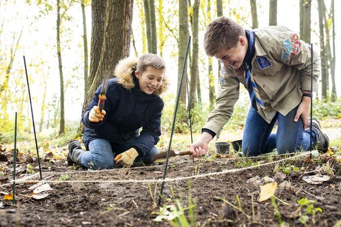 Timo (links) en Wout hebben al meer dan 125 bolletjes geplant in het Hengelose Beleefbos