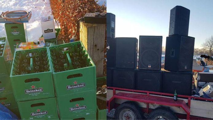 Boa's troffen bierkratten en een aanhangwagen vol speakers aan bij het Overijssels Kanaal in Heeten