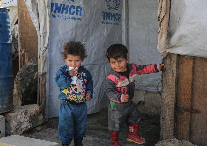 Kinderen in een vluchtelingenkamp in Libanon.