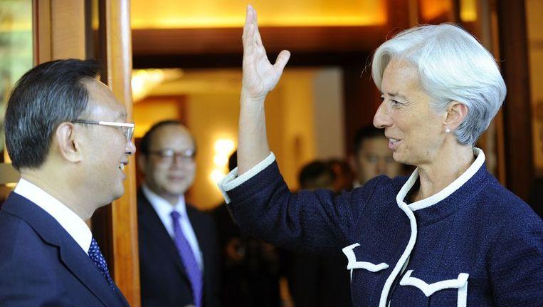 Christine Lagarde en de Chinese minister van Buitenlandse Zaken Yang Jiechi. Beeld null