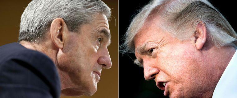 Speciale aanklager Robert Mueller en de Amerikaanse president Donald Trump. Beeld AFP