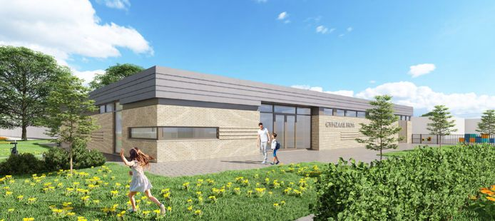 Artist impression van de omstreden nieuwe gymzaal in Heer Oudelands Ambacht in Zwijndrecht