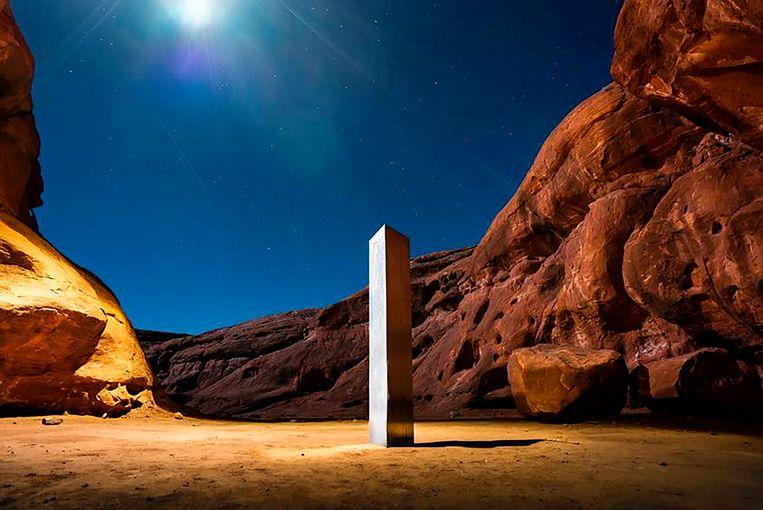 De monoliet die eerder werd ontdekt in Utah, Verenigde Staten.  Beeld AP